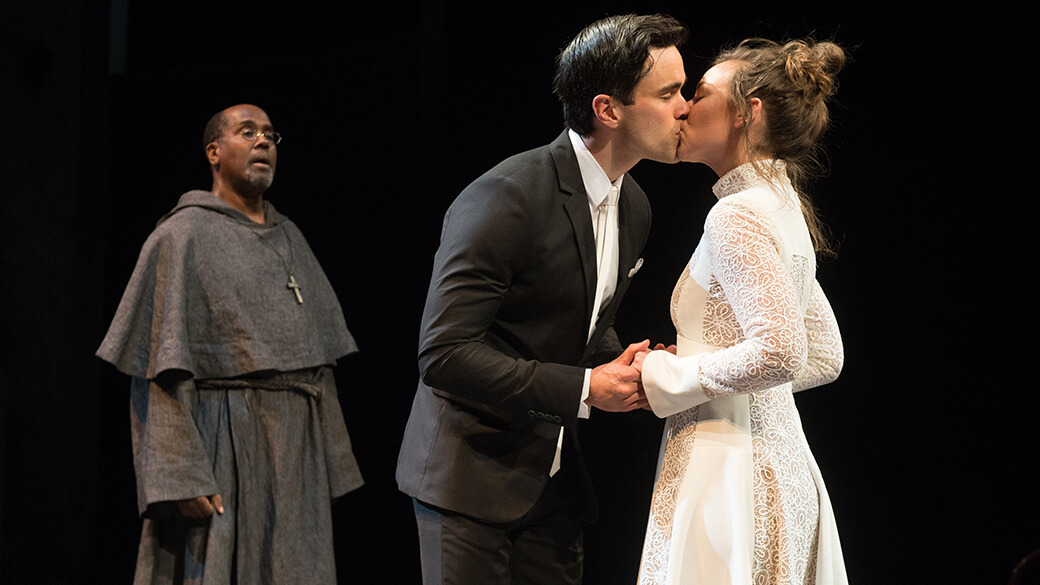 James A. Williams (Friar Lawrence), Ryan James Hatanaka (Romeo) And Kate  Eastman (Juliet) In Romeo And Juliet. Photo By Jenny Graham.